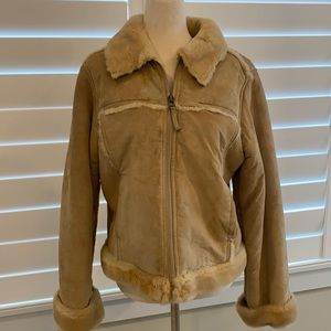 Vintage look leather with fur coat jacket size M